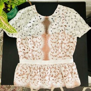 BCBG white lace top